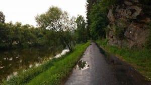 Řeka Sázava před obcí Březina.
