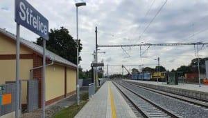 Nádraží Střelice, nástupiště u 1. koleje